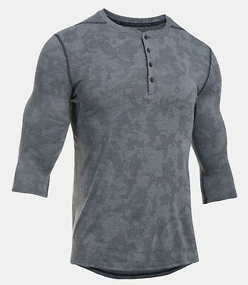 Under Armour Men's Black Ua Threadborne Utility 3/4 Sleeve Henley Crewneck Shirt Regular Tea Drinking Improves Your Health Clothing, Shoes & Accessories