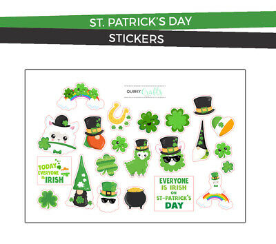 Patrick/'s Day Irish Shamrock Clover Luck Stickers Papercraft Planner Supply St