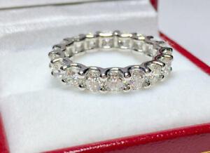 3.37 Ct Round Moissanite Wedding Eternity Band Real 18K White Gold Ring Size 7 8
