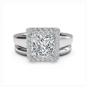 1.00 Ct Princess Real Moissanite Engagement Band Set Solid 18K White Gold Size 5