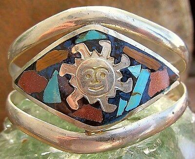 Symbol Der Marke Schwere Breite Zuni Indianer Armspange Sterling Stein Intarsien Sonne Unikat