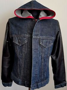 new products release info on largest selection of 2019 Details about CUSTOM DENIM JACKET GAP JEANS HANDMADE ZIP BLUE BLACK VARSITY  HOOD USA FLAG M