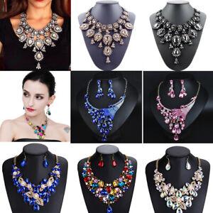 Fashion Women Necklace Crystal Statement Bib Chain Pendant Chunky Choker Collar Wedding Party Jewelry
