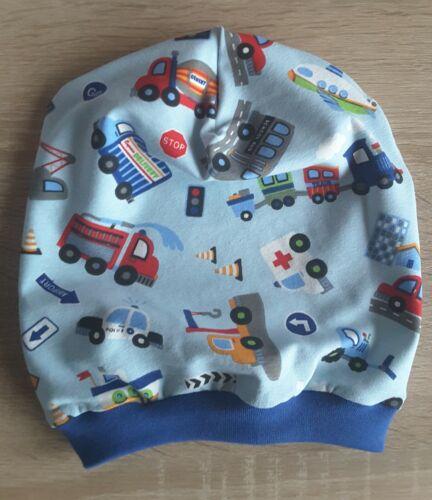 Jersey /& Bündchen Handmade Autos Beanie Mütze Übergangsmütze mit Fahrzeugen