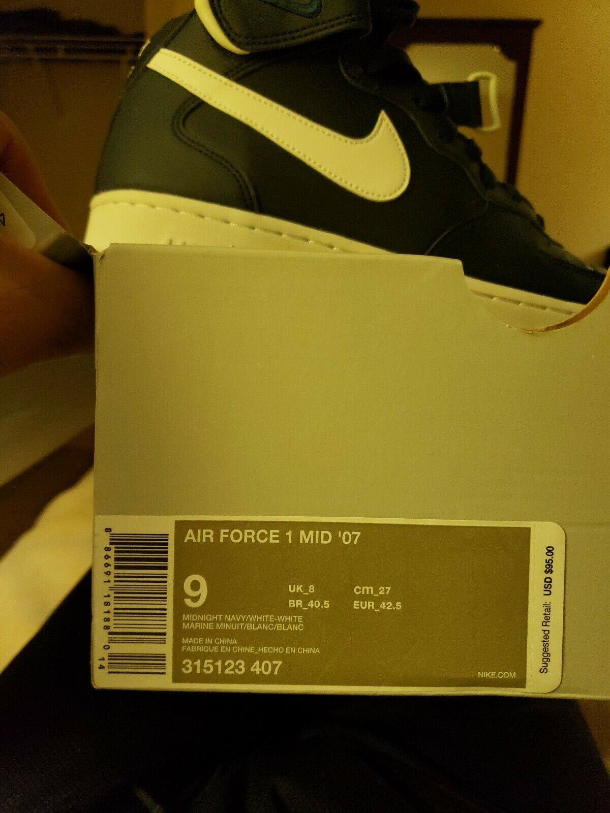 Nike Air Force 1 Mid 07 bluee 315123-407 Men's Size 9