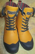 NEW Tommy Hilfiger TW Renegade MUSTARD & NAVY Waterproof RUBBER Boots Wo's Sz 7