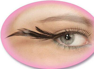 Feathered Eyelashes Fake Lashes Fancy Dress Halloween Costume Accessory 5 COLORS