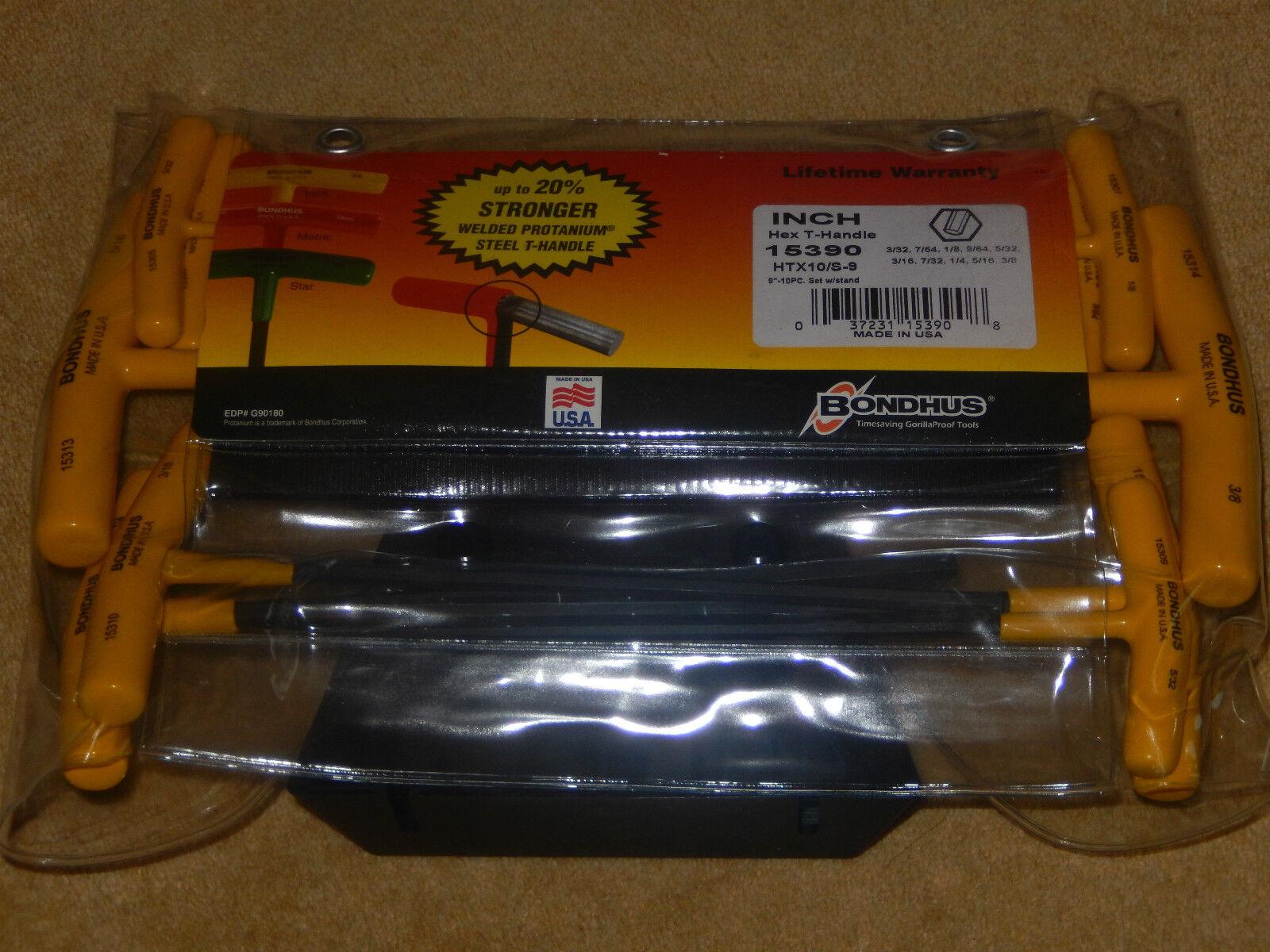 HTX10S9 Bondhus 9  T Handle 10 Piece Hex Key Allen Set With Stand