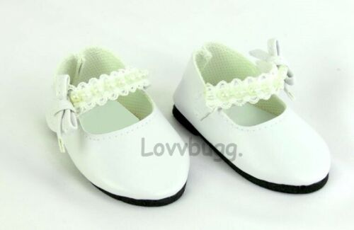 White Lace Pearls Dress Shoes for 18 inch Girl or Baby Doll Communion LOVVBUGG