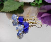 Würfel Ohrhänger Blau Hellblau marmoriert Glas mit Ohrhaken - Ohrringe