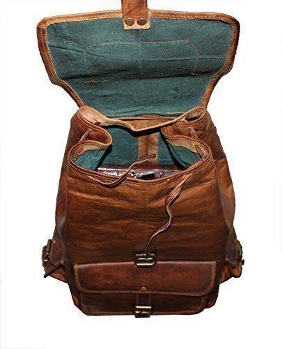 CUIR VÉRITABLE Sac à dos hommes ordinateur portable de voyage randonnée Vintage Grand camping Sacoche