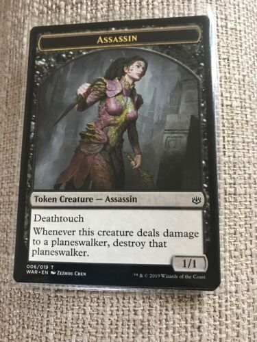 4x Assassin Token 006//019 MTG War Of The Spark Unplayed Magic The Gathering