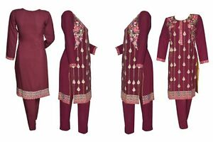 Indian-Pakistani-Shalwar-Kameez-Salwar-Saree-Suit-Dress-Wedding-Designer-Plum