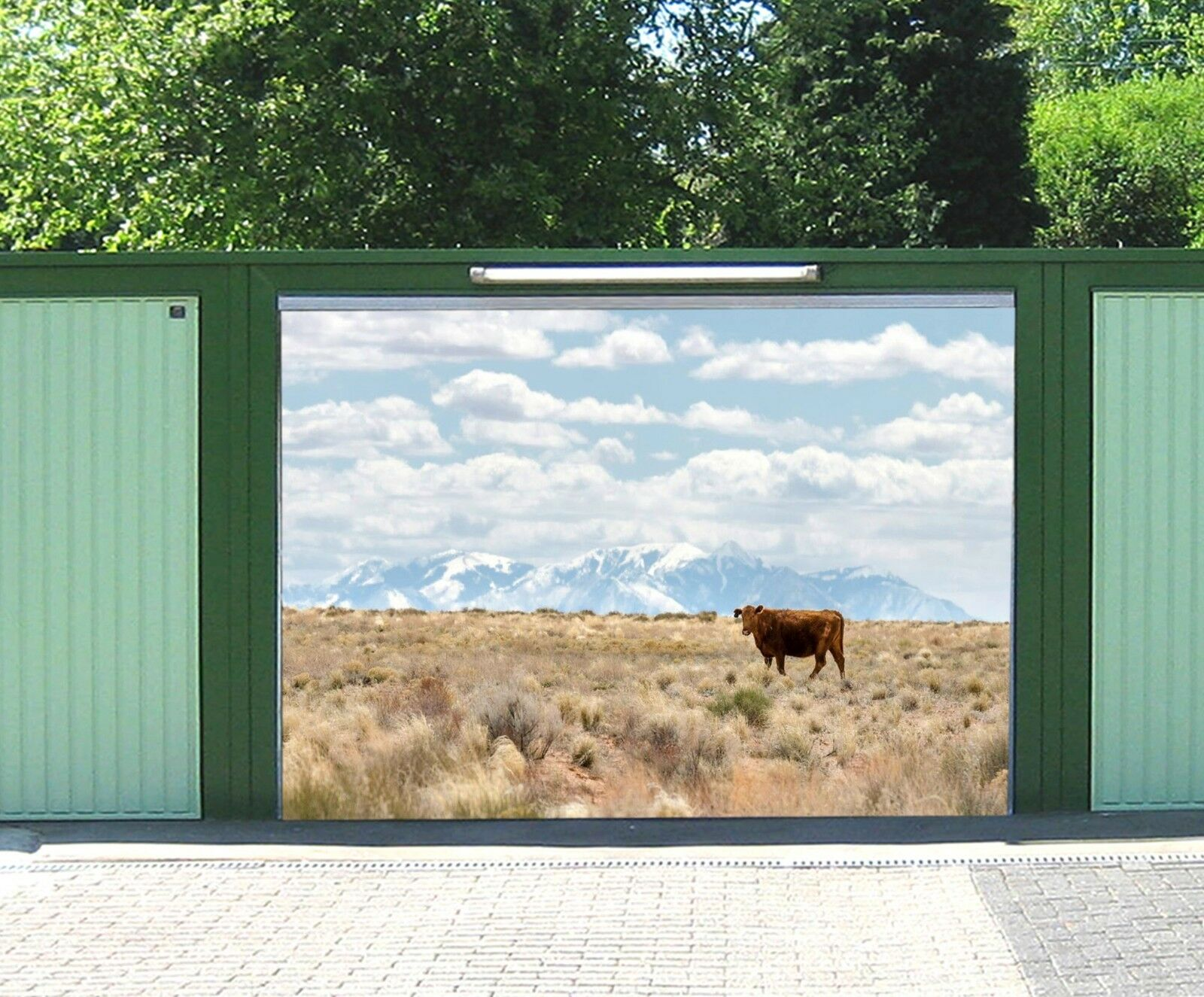 3D Sky Cow Prairie 45 Garage Door Murals Wall Print Wall AJ WALLPAPER UK Lemon
