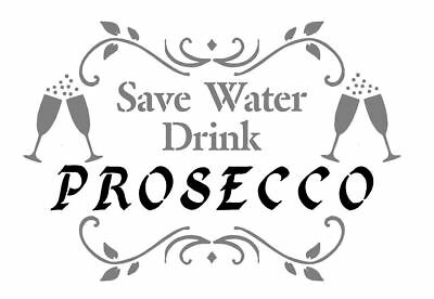 MYLAR STENCIL DRINK PROSECCO  FRENCH VINTAGE Craft Art 125 micron A3/A4  (238)