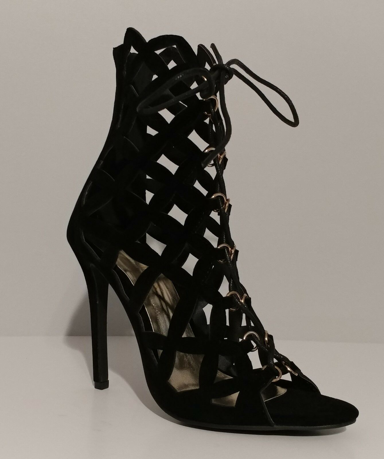 NEW   Liliana Zia-4  Black Lace Up Caged 4  Heels Size 7M US 37M EUR