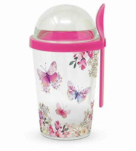 Cereal 2 Go 2 Compartment Travel Cup Spoon With Screwable Lid Butterfly Design