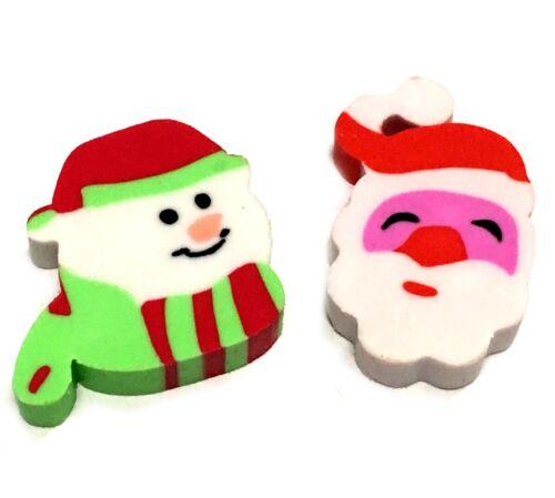 CHRISTMAS ERASERS BOYS GIRLS TOY RUBBERS SANTA SNOWMAN XMAS GIFT STOCKING FILLER