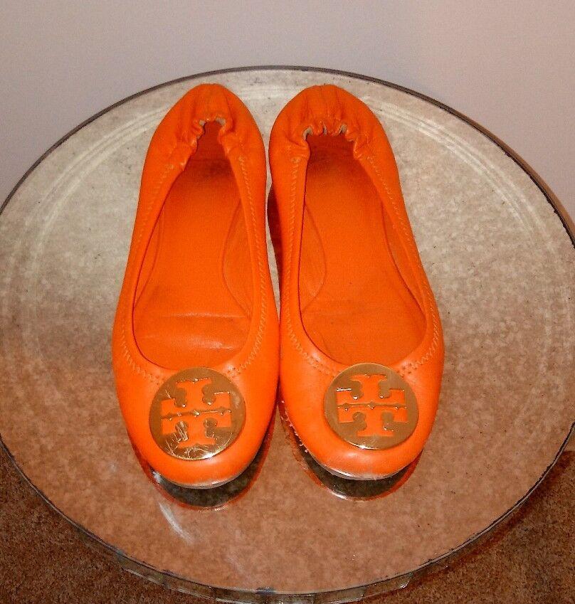 Tory Burch naranja Reva oro naranja Burch de cuero con el logotipo de Ballet Bailarina Zapatos Bajos Zapatos Talla 7.5 M 2b4871