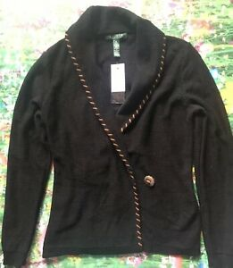 LAUREN RALPH LAUREN Black Sleeve Front String Tie Collar Sweater M ... 551aa50c0f5