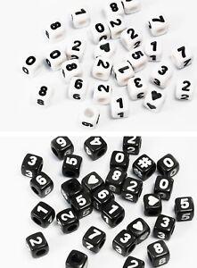 Zahlenperlen-Wuerfel-0-9-mix-Herz-Kunststoff-Perlen-weiss-Zahlen-Perle-P-81