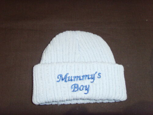 Baby Knitted Wool Embroidered Personalised Hat With Saying Mummy/'s Boy