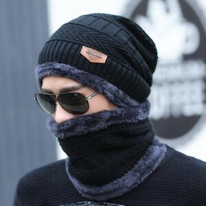 Winter Mens  Baggy Warm Wool Fleece Ski Cap Hat Scarf Neckerchief Set #@