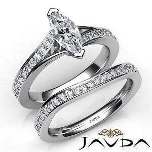 1-95ctw-Pave-Set-Nupcial-Marquesita-Anillo-de-Compromiso-Diamante-GIA-G-VS2-Oro