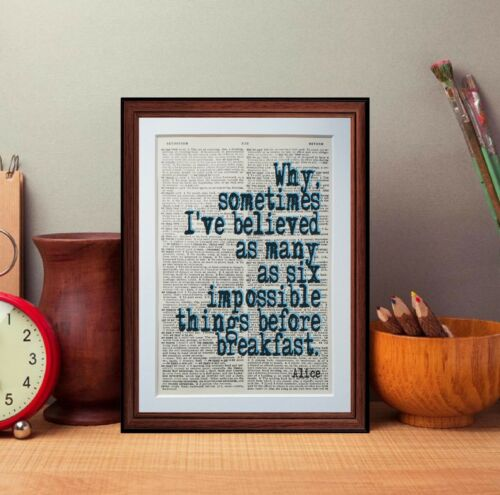 Alice In Wonderland dictionary page quote art print reading books literary