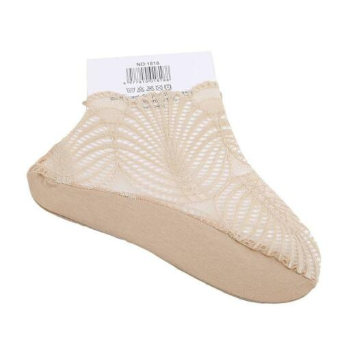 Women Thin Lace Mesh Boat Socks Low Cut Summer Invisible Ankle Socks Slippers Q