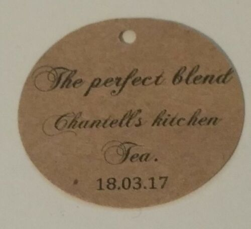 Name and date kitchen tea personalize recycled Gift tags Pk-20,30,50,100