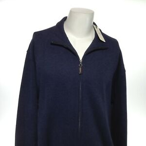 TURNBURY-Men-039-s-Large-Navy-Blue-Zip-Up-Long-Sleeve-Casual-Solid-Shirt-Jacket-NEW