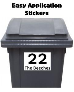 4 Medium Custom Wheelie Bin Stickers Street Name Address Number Waterproof Z7
