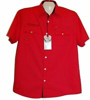 Xios Men's Red Black Lining Logo Blouse Shirt Cotton Size 2xl Botton Down
