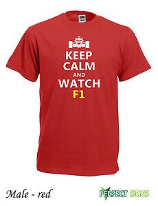 Keep-Calm-And-Watch-F1-Formula-1-Raikkonen-Alonso-Ferrari-T-SHIRT-size-M-red