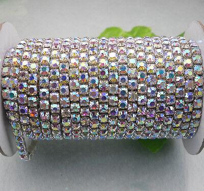Applique 1440pcs AB crystal glass rhinestone compact close silver chain trims