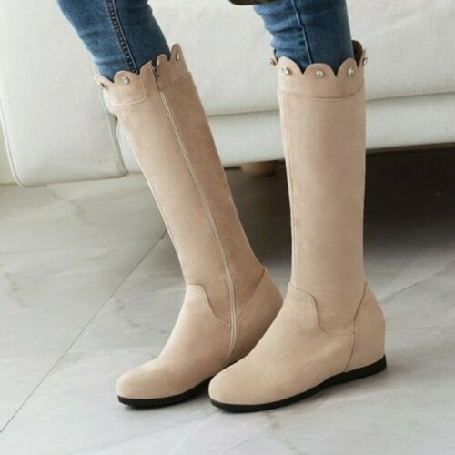 Details about  /Winter Mid-calf Boots Outdoor Womens Zip Up Rhinestone Casual Wedge Heel Shoes D