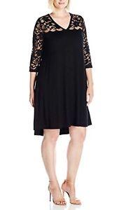 3871a333453 NEW Karen Kane Plus Size V-neck Lace Yoke Swing Black Dress 1X ...