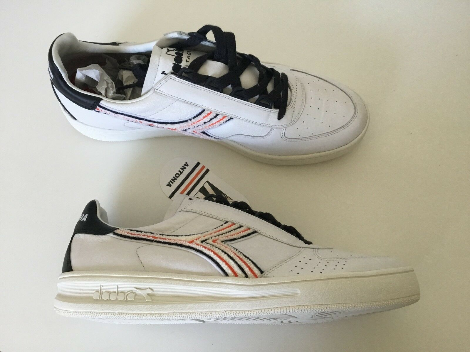 Diadora Antonia B. Elite Made in ITALY Men's Shoes Sneakers White Leather 7