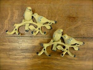 Set Of 2 Yellow Metal Jeweled Bird Hooks Rustic Vintage