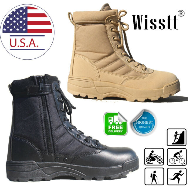 Men/'s Leather Military Combat Army Tactical Boots SWAT Boots Duty Work Shoes New