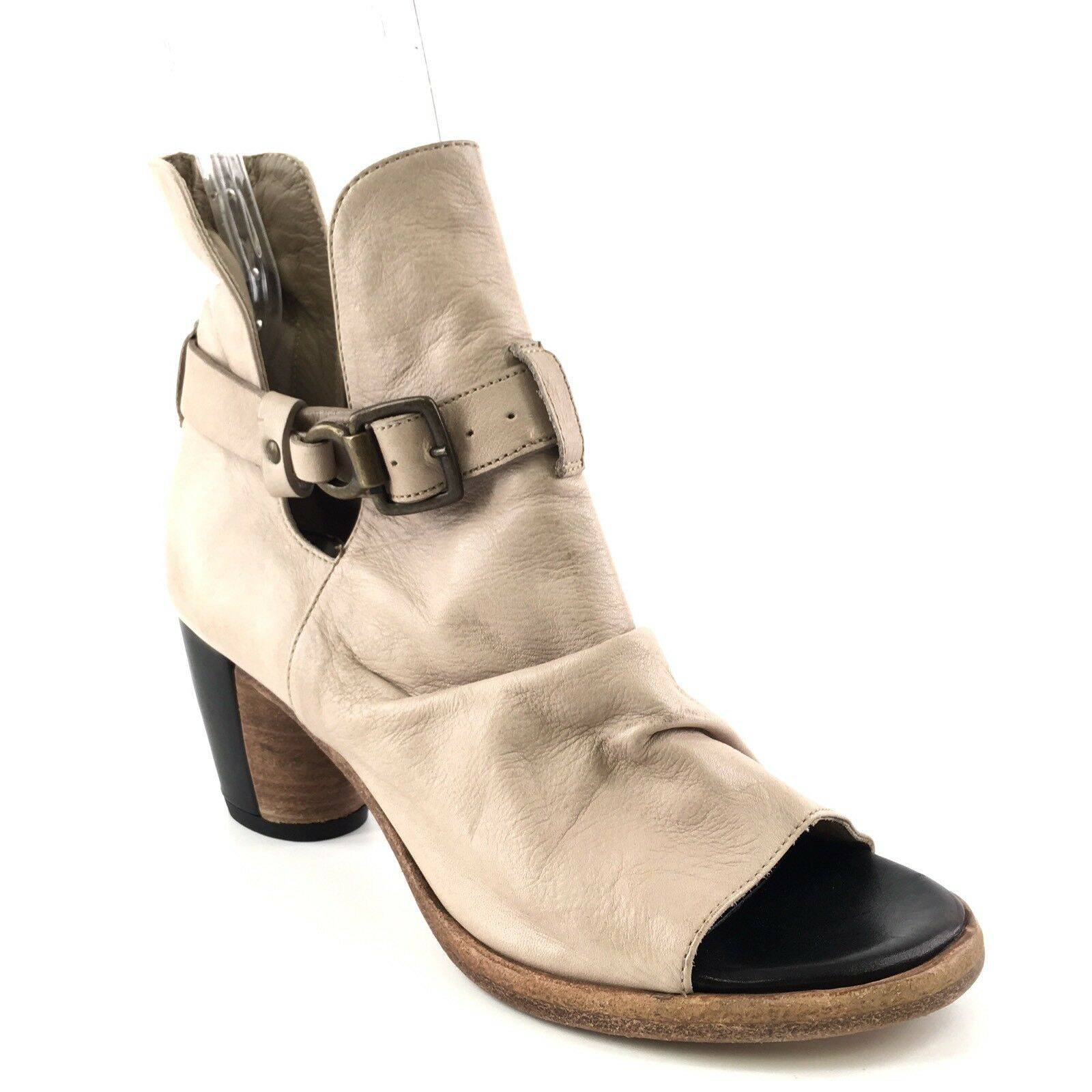 New Alberto Fermani Taupe Leather Open Toe Ankle Boots Women's Size 6 M*