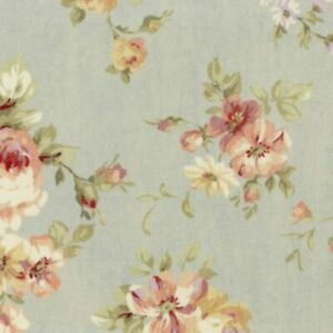 Cottage-Shabby-Chic-Lecien-Durham-Quilt-Roses-Floral-31926L-71-Dusty-Blue-BTY