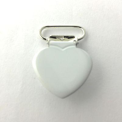 5 Heart 3//4 Inch Purple Enamel Suspender Passy Binky Pacifier Mitten Clip