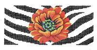 Red Poppy Flower & Zebra Handpainted Needlepoint Canvas By Lee Bb Insert