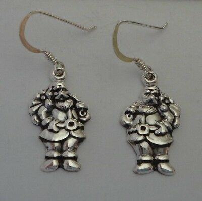 Sterling Silver 21x13mm 3.5gram Santa with Sack over Shoulder on wire Earrings