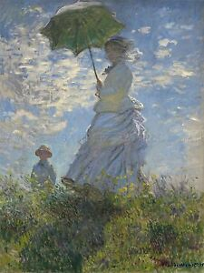 CLAUDE-MONET-FRENCH-WOMAN-PARASOL-MADAME-SON-OLD-ART-PAINTING-POSTER-BB5141A