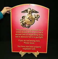 USMC ENLISTED METAL SIGN SEMPER FI  WARNING SIGN (MCENNT 24X18) - PhotoSTEEL