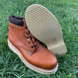 Men's Work laces Steel Toe Leather Tan Boots oil water slip resistant Casquillo