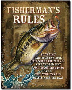 Fisherman-s-rules-Metal-tin-sign-bait-tackle-fishing-home-Wall-decor-new